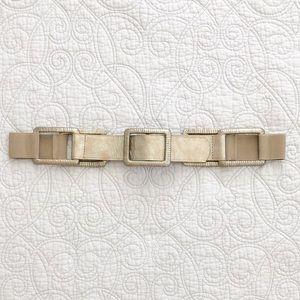 Chico's Metallic Leather Square Link Elastic Belt
